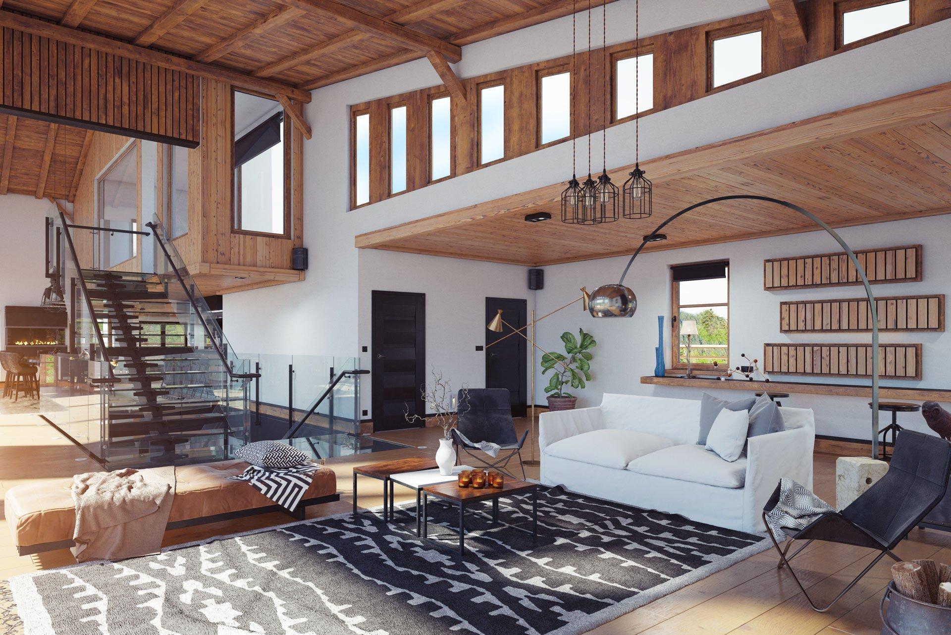 wooden modern chalet interior with custom wood design in Trimble, Hesperus