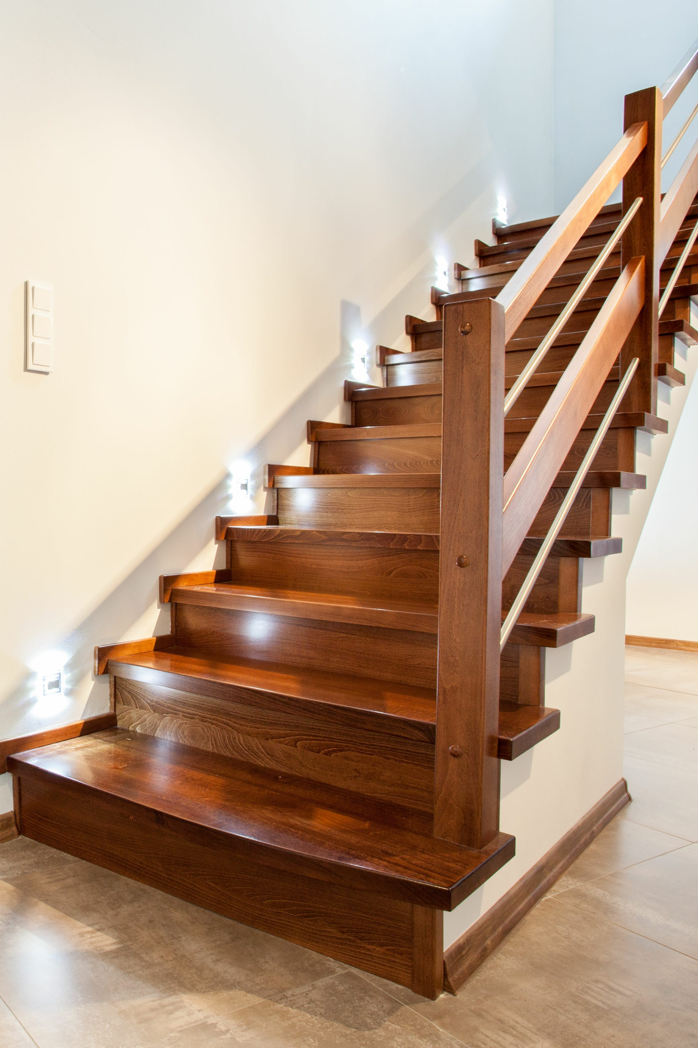 Wooden reclaimed luxury wood staircase in Loma Linda, Falfa Colorado