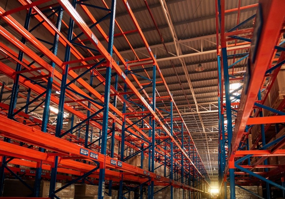 This is a supply chain warehouse with a lot of shelves.